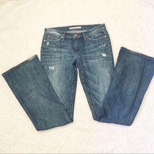Joe's Jeans Rocker Fit 27 Flared Distressed Worn